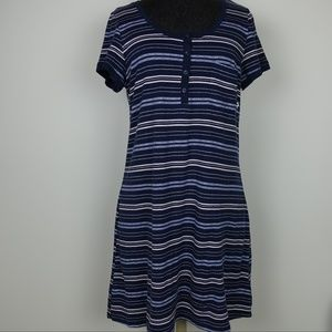 Lucky Brand Shirt Dress Short Sleeve Stripes